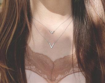 Small V Necklace, V Shaped Necklace, V Necklace Silver, Dainty V Necklace, Tiny V Necklace, Layering Necklace Set, Geometric  Necklace