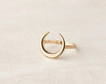 Crescent Moon Ring, Moon Ring Sterling Silver, Dainty Ring, Half Moon Ring, Horn Ring, Minimalist Ring For Women, Moon Jewelry,Simple Ring