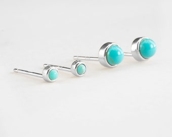 Second Hole Earrings, Small Stone Earring Sterling silver, Small Turquoise Earring, Tiny Turquoise Stud Earring, Earring Set, Dainty Earring