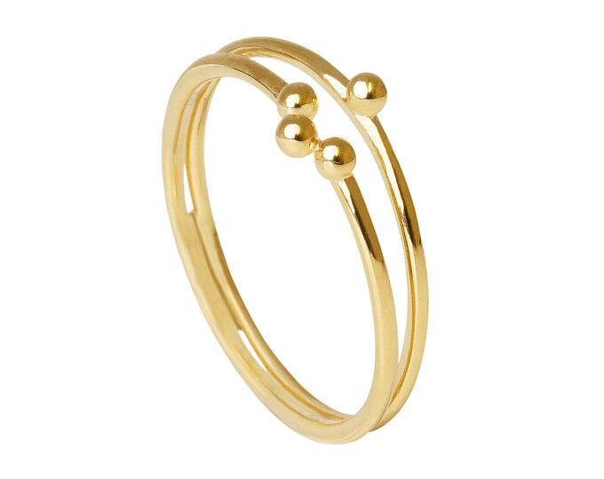 Minimalist Gold Ring, Gold Stack Ring, Gold Dot Ring, Minimalist Jewelry, Dainty Gold Fill Ring, Double Gold Ring, Ball Ring, Simple Ring