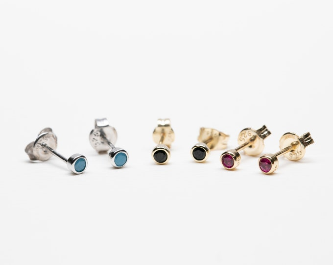 Tiny Stud Earring, Stud Earring Set, 2mm Stud, Ruby Earring Stud, Turquoise Gold Earring, Men Earring,Mini Stud Earring, Second Hole Earring