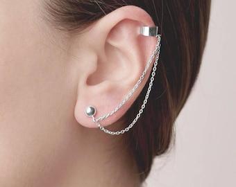 Silver Double Chain Earring, Ear Jacket Chain, Ear Cuff Chain, Double Cuff No Piercing, Chain Ball Studs, Long Chain Crawler, Boho Earring