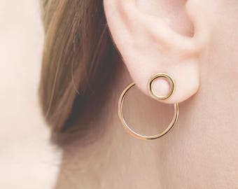 Double Hoop Earring Gold, Hoop Earring Jacket, Front Back Earring, Circle Ear Jacket, Statement Earring Gold, Double Side Earring, Eclipse