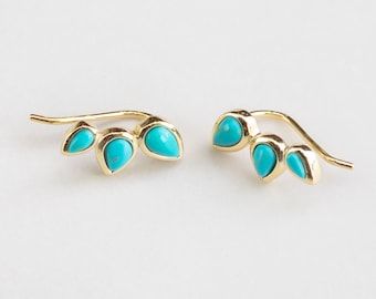 Ear Climber Turquoise, turquoise and Gold Earring, Turquoise Ear Cuff, Gemstone Ear Climber, Gold Fill Ear Climber, Ear Crawler Earring, Pin