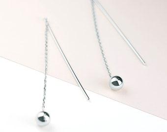 Front Back Drop Earring, Sterling Silver Threader Earring, Long Threader Earring, Dangle Chain Earring, Sphere Earring, Eternity Threader