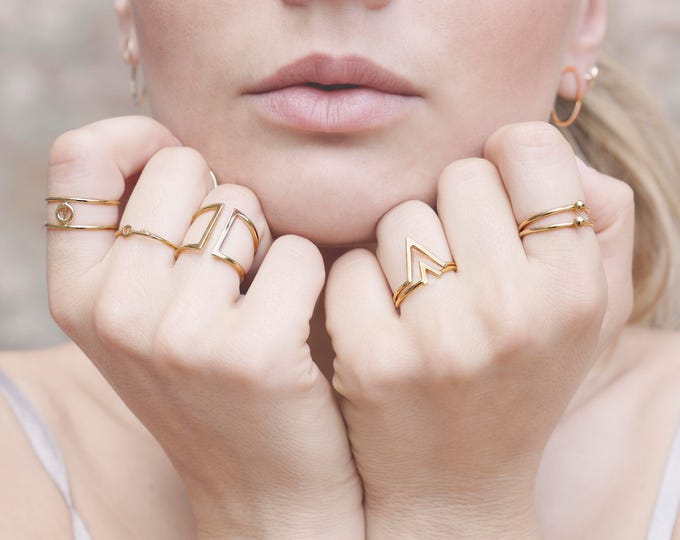 Stack Ring Set Gold, Pointed Sterling Silver Ring, Gold Plated V Ring, V Shape Ring, Gold V Ring, 2 Ring Set, Delicate Dainty Ring, Chevron