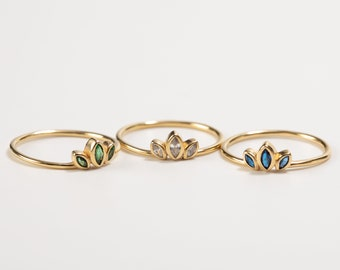 Emerald Marquise Ring, Blue Sapphire Ring, Crown Ring, Tiara Ring, Dainty Ring, Princess Ring, Crystal Ring, Gold Fill Ring Women,Minimalist