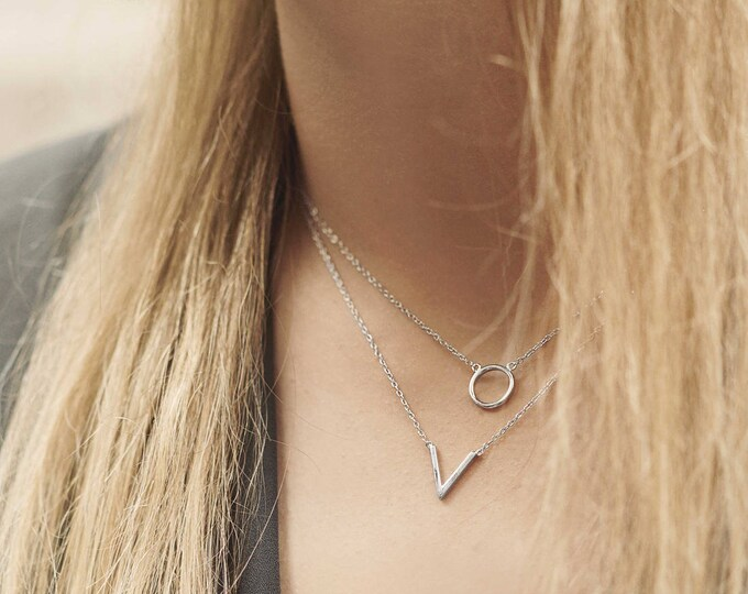 Sterling Silver Circle Necklace. Small Round Necklace , Round Pendant Necklace , Silver Hoop Necklace , Eternity Circle Collar, Minimalist