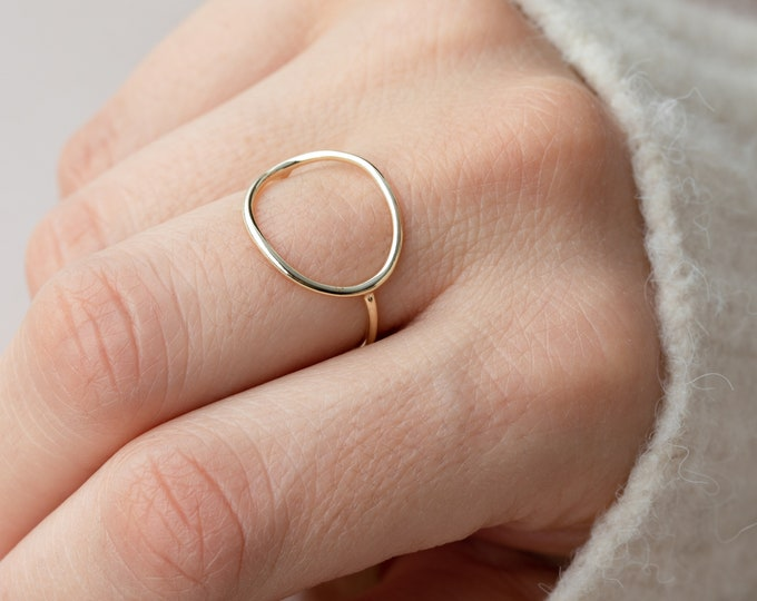 Circle Ring Women, Sterling Silver Karma Ring, Big Round Ring, Dainty Ring, Minimalist Ring, Delicate Ring, Simple Ring, O Ring, Thin Ring