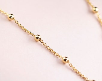 Bobble Necklace, Ball Chain Choker, Satellite Chain Necklace, Dot Choker, Tiny Choker Necklace, Gold Chain Choker Necklace, Dainty Choker
