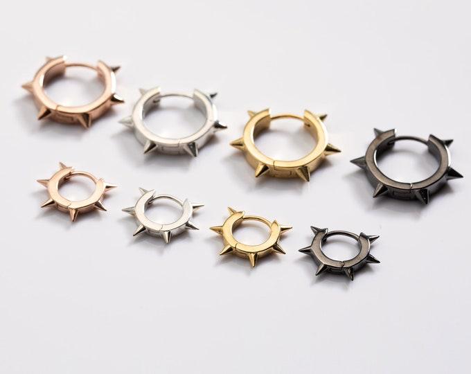 Spike Hoop Earring, Black Spike Earrings, Earring Set Multiple Piercing,  Sterling Silver Huggie Earring, Rose Gold Hoop,Earring Second Hole