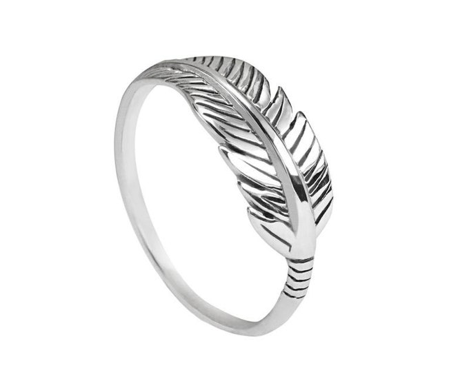 Feather Sterling Silver Ring, Boho Ring Sterling Silver, Gypsy Silver Ring, Hippie Midi Ring, Native American Ring, Knuckle Silver Ring,