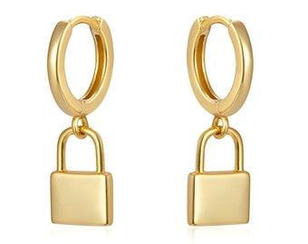 Padlock Earring, Lock Earrings, Gold Plated Earrings, Dangle Earrings, Small Hoop Earring Charm, Minimalist Earrings, Dainty Earrings
