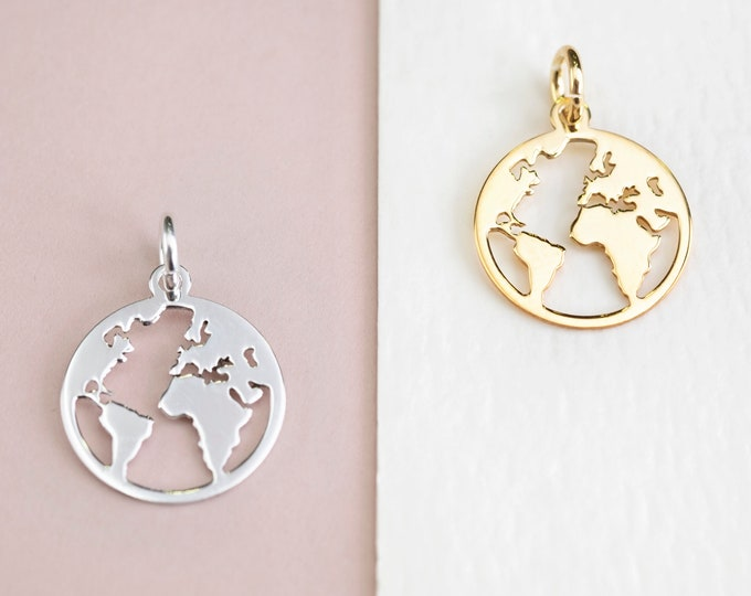 World Charm, World Map Pendant, Earth Charm, Globe Charm, Globetrotter, Gold Plated Charm, Travel Jewelry, Wanderlust, Adventurer
