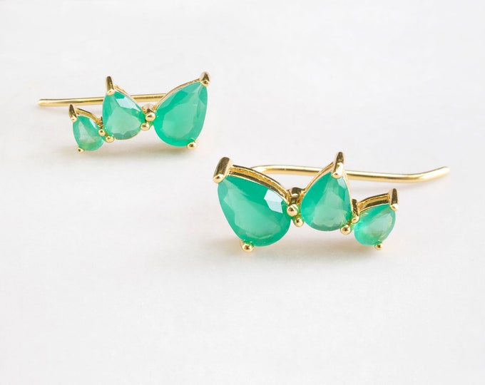 Emerald Ear Climber, Emerald Earring Diamond, Emerald Teardrop Earring, Emerald Drop Earring, Emerald Earring Wedding, Gold Emerald Earring