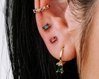 Small Stud Earring, Emerald Earring, Ruby Earring, Earring Second Hole, Sterling Silver Zircon Earring, Dainty Earring, Minimalist Earring