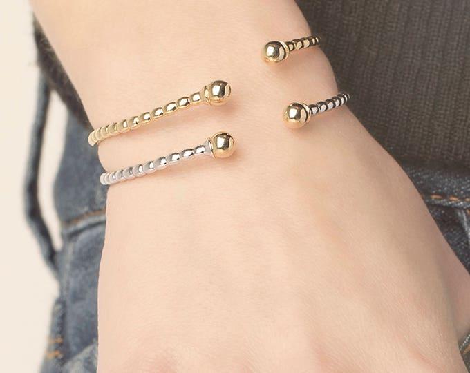Ball End Bangle, Twisted Bangle Bracelet, Torque Bracelet, Gold and Silver Bracelet,Two Tone Bracelet, Rigid Armband, Open Cuff Bracelet