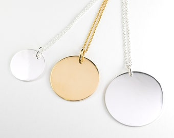 Dangle Custom Necklace, Handwriting Circle Necklace, Medal Necklace Gold Fill, Large Disc Necklace, Sterling Silver Medallion Necklace