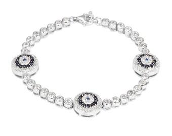 Greece Evil Eye Bracelet, Cubic Zirconia Evil Eye, Turkish jewelry,  Blue Eye Bracelet, Blue Sapphire Cubic Zirconia, Greek Jewelry Women