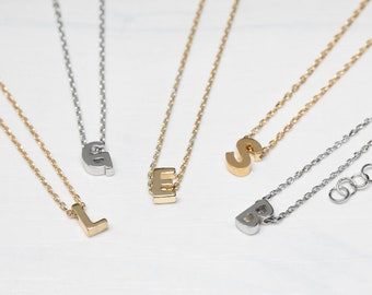 Sterling Silver Initial Necklace, Letter Necklace, Small Initial Necklace,Bridesmaid Necklace, Gold Initial Necklace, Personalized Necklace