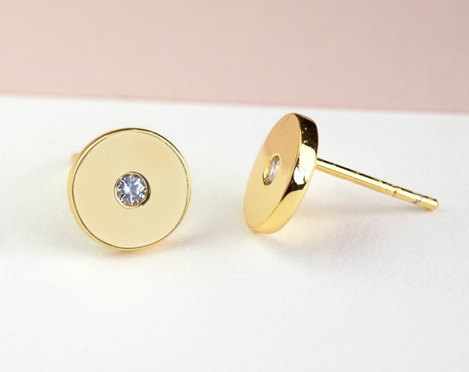 Second Hole Earring Gold, Disc Stud Earring, Single Diamond Stud Earring, Flat Earring Post, 8mm stud earring,2nd hole earring,Delicate Stud