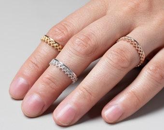 Midi Ring Sterling Silver, Stack Ring, Rose Gold Crown Ring, Vintage Ring, King Queen Ring, Tiara Ring, Lace, Wedding Band, Antique  Ring