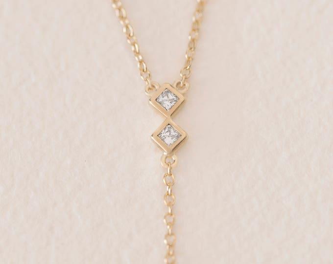 Diamond Y Necklace, Y Lariat Necklace, Long Layer Necklace, Y Drop Necklace, Cluster Necklace, Bezel Lariat Necklace, Floating Necklace