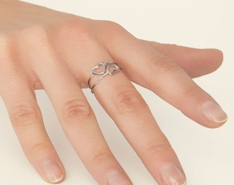 Best Friend Ring, Best Friend Ring For 2,  Heart Ring Sterling Silver, Simple Heart Ring, Small Heart Ring, Minimalist Ring Set, Teen Ring