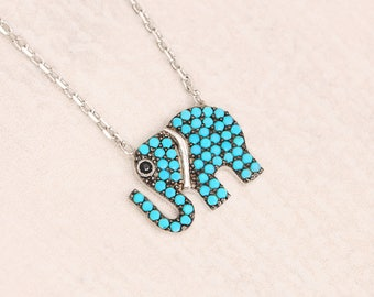 Elephant Necklace Sterling Silver, Dainty Elephant Necklace, Southwestern Turquoise Necklace, Small Turquoise Necklace, Turquoise Jewelry