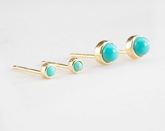 Second Hole Earrings, Small Stone Earring Sterling silver, Small Turquoise Earring, Tiny Turquoise Stud Earring, Earring Set, Dainty Earring