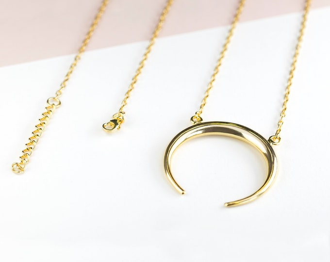 Moon Statement Necklace, Upside Down Crescent Moon Necklace, Large Moon Necklace, Gold Horn Necklace, Gold Plated Moon Necklace, Half Moon