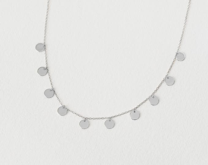 Coin Choker Necklace,Silver Disc Choker, Sterling Silver Chock, Dainty necklace, Minimalist Necklace Gold, Tiny Coin Necklace,Delicate Charm