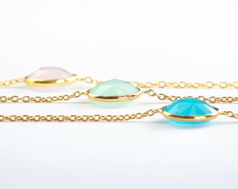 Aquamarine Bracelet Women, Green Gemstone Bracelet, Gem Stone Bracelet, Tiny Gemstone Bracelet, Dainty Bracelet Gold, Chain Link