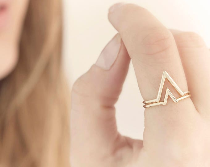 Double V Ring, Stack Ring Set, Mix and Match Ring, Minimalist Jewelry, V Ring, V Jewelry,Triangle Ring,Dainty Ring,Delicate Ring,Simple Ring