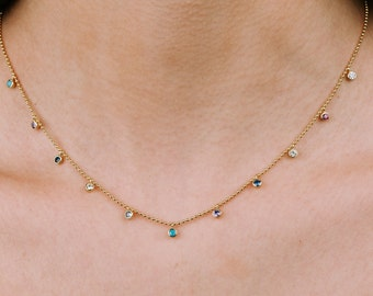 Multi Color Necklace, Coin Necklace, Multi Charm Necklace Women, Stone Necklace, Gemstone Necklace, Zircon Necklace, Gold Filled Necklace