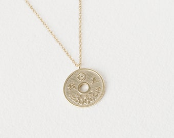Japan Coin Necklace, Japan Gift, Yen Necklace, Chinese Coin Necklace, Gold Fill Necklace, Coin Necklace Gold, Cut Coin Jewelry, Boho Pendant