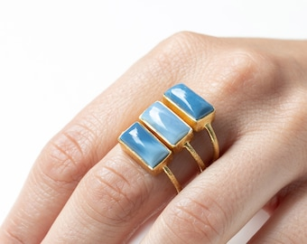 Blue Lace Agate Ring, Gold Stone Ring, Statement Ring,Rectangle Ring,Raw Gemstone Ring,Thick Ring, Cocktail Ring, Cabochon Ring,Larimar Ring