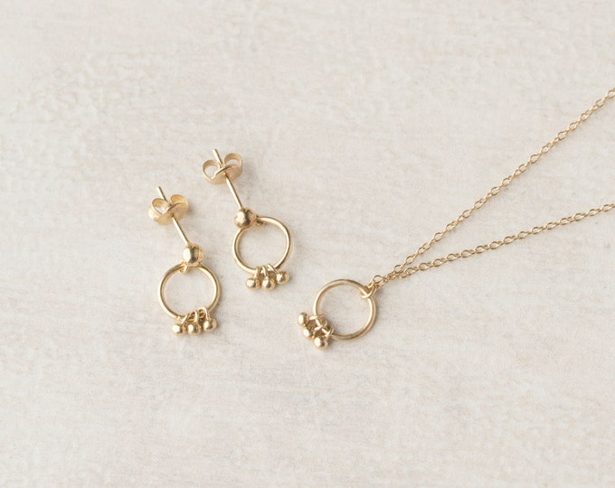 Tiny Charm Necklace, Open Necklace, Small Drop Necklace, Dot Jewelry, Dainty Necklace, Sterling Silver Necklace, Simple Necklace Women