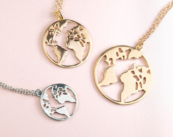 Earth Necklace, Travel Jewelry, Wanderlust Gift, World Map Necklace Silver, Globe Necklace, Globetrotter, Adventure Gift, Travel Necklace