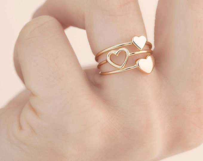 Best Friend Ring, Minimalist Ring Set, Matching Ring Friend, Ring Girlfriend, Heart Ring Sterling Silver, Matching Ring Couple, Stack Ring