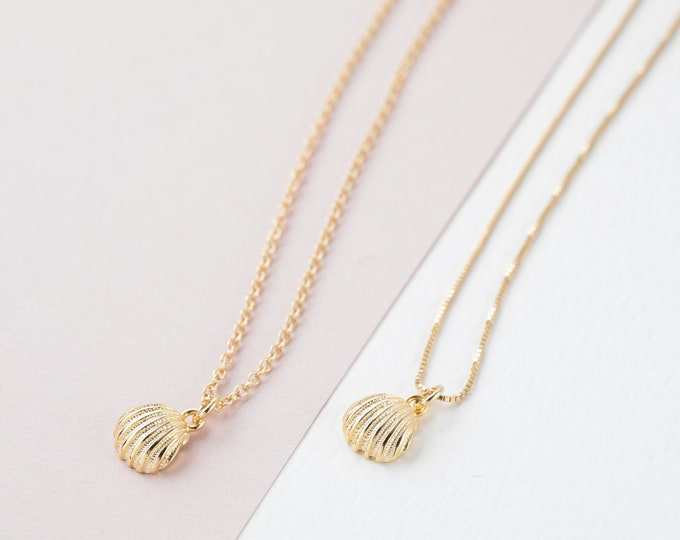 Shell Choker Necklace, Sterling Silver Seashell Pendant, Oyster Choker, Clam Necklace, Shell Gold necklace, Minimalist Gold Filled Necklace