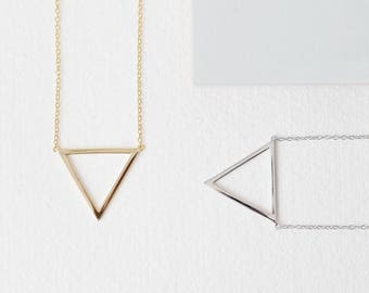 Triangle Necklace, Gold Plated Sterling Silver Minimal,  Open Triangle Necklace - Dainty Geometric Necklace, Silhouette Triangle Pendant