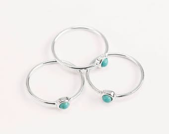 Turquoise Silver Ring, Arizona Turquoise Ring, Light blue Ring, Dainty Gemstone Ring, December Birthstone Ring, Minimalist Delicate Jewelry