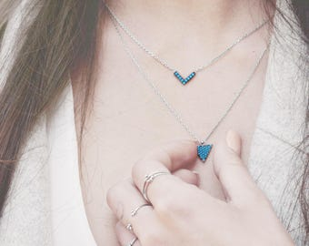Small Turquoise Necklace, Sterling Silver Triangle Necklace, Dainty Triangle Necklace, Turquoise Diamond Necklace, Turquoise Jewelry