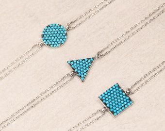Turquoise Pave Bracelet, Turquoise Silver Bracelet, Chain Link Bracelet, Square Bracelet, Double Chain Bracelet, Gemstone Jewelry Women