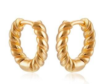 Croissant Earrings, Huggie Hoop Earrings, Thick Hoops, Twisted Earrings, Infinity Hoop, Small Hoop Earrings, Tiny Hoops, Minimalist Hoop