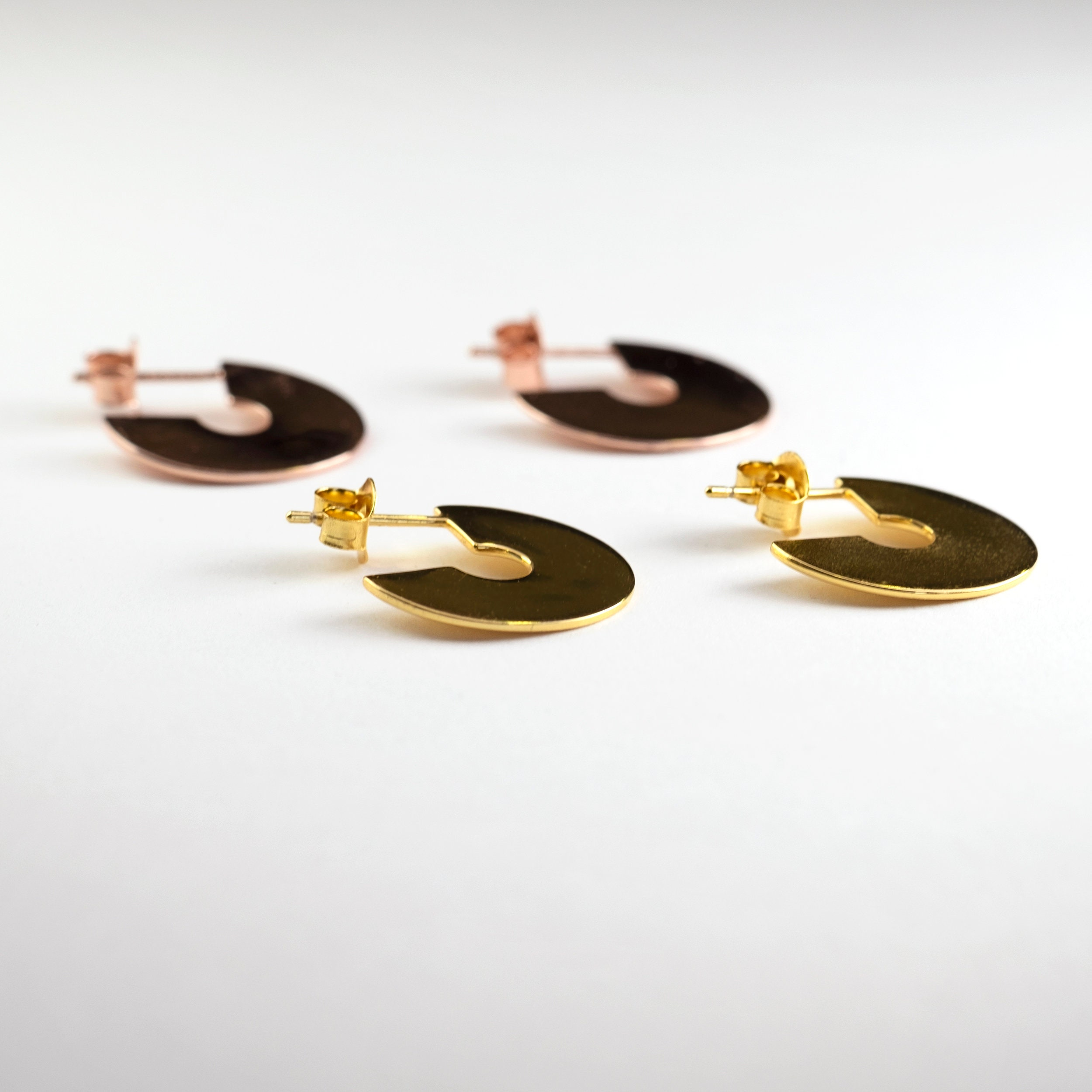 0c0d7a445 Sterling Silver Disc Earring, Big Disc Earring, Flat Hoop Gold, Big Thin  Hoop, Disc Earring stud, Half Hoop Earring, Modern Hoop Earring