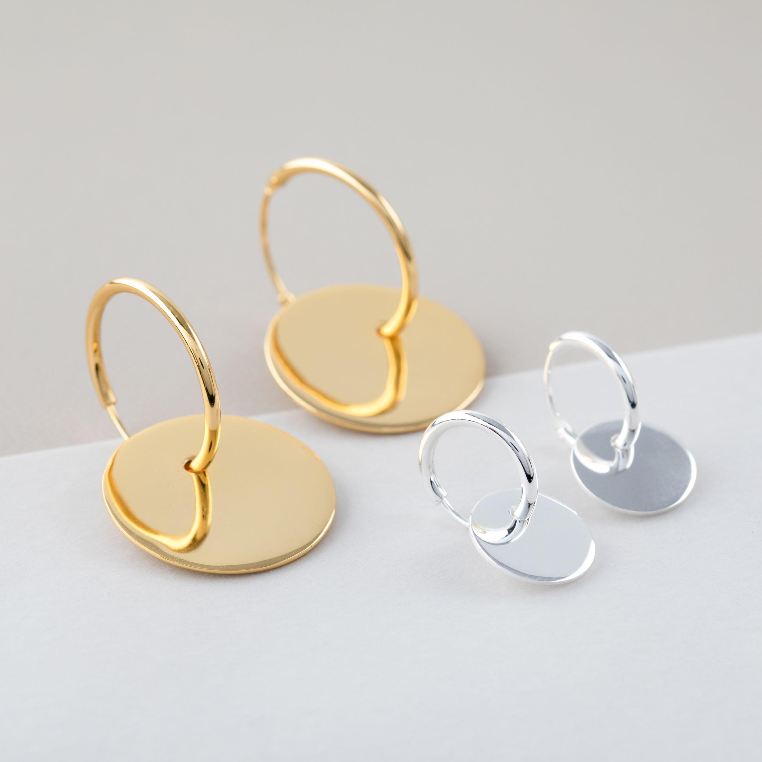 945c21c40 Large Dangle Hoop Earring, Double Hoop Earring, Sterling Silver Disc Earring,  Flat Hoop Gold, Big Thin Hoop, Modern Hoop Earring, Dainty