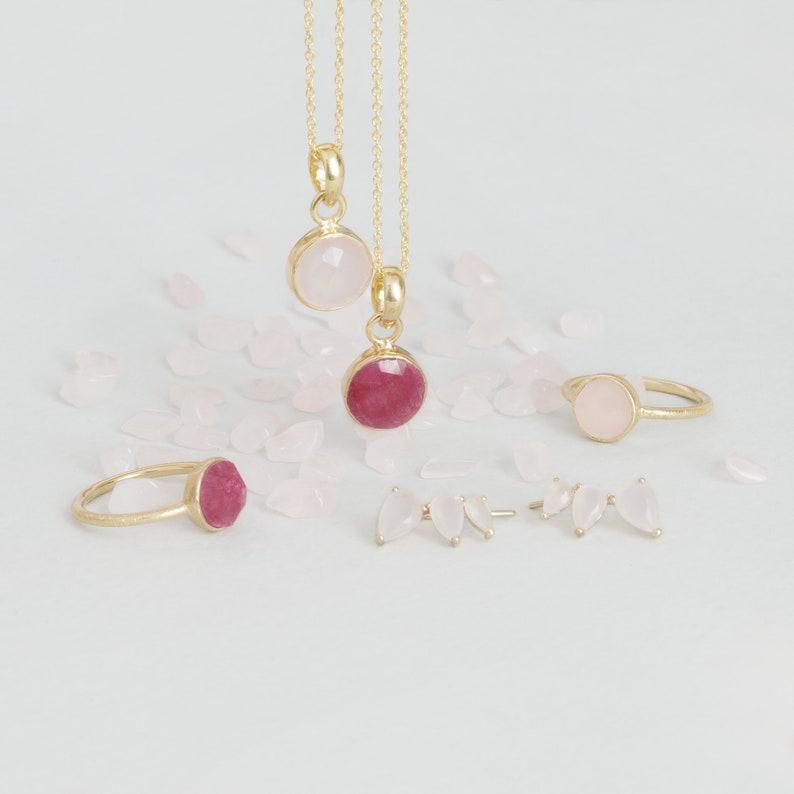 4b018c756bf2 Collar Cuarzo Rosa Collar Chapado Oro 18kt Collar Piedra