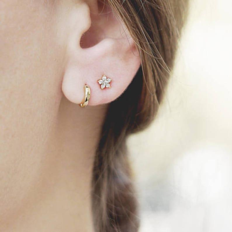 cbbb63bbb1 Tiny Flower Stud Earring Small Diamond Earring Dainty Post | Etsy